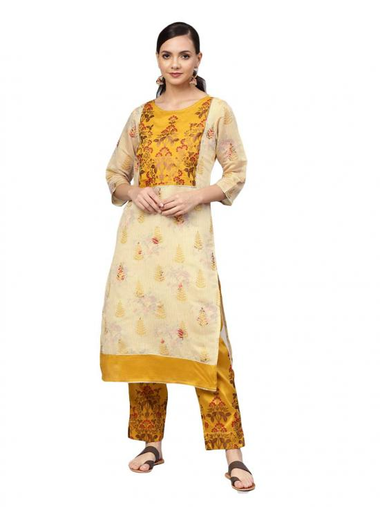 Ahalyaa Faux Chanderi  Printed Kurta Set  In Mustard Colour