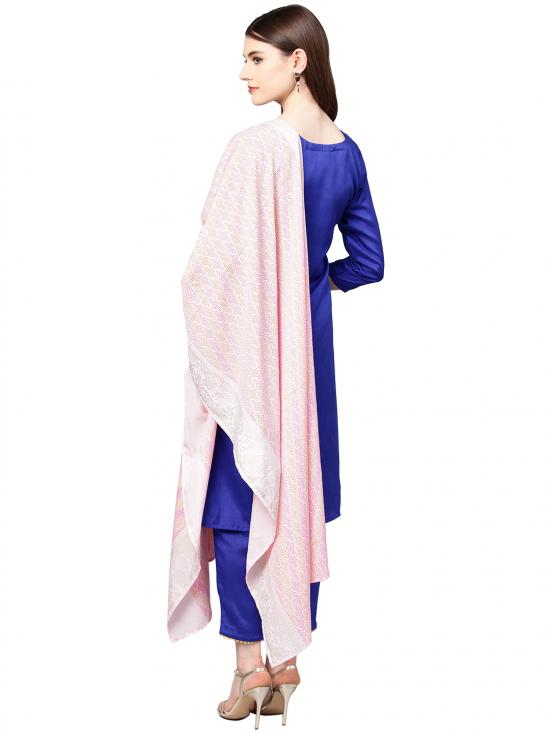 Blue Classy Faux Silk Combo with Traditional Bandhini Like Print Dupatta