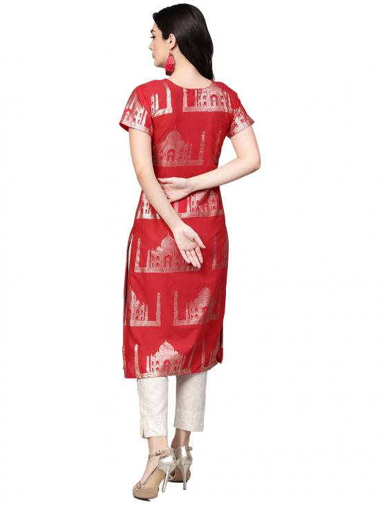 Red Traditional Hand Printed Cotton Combo