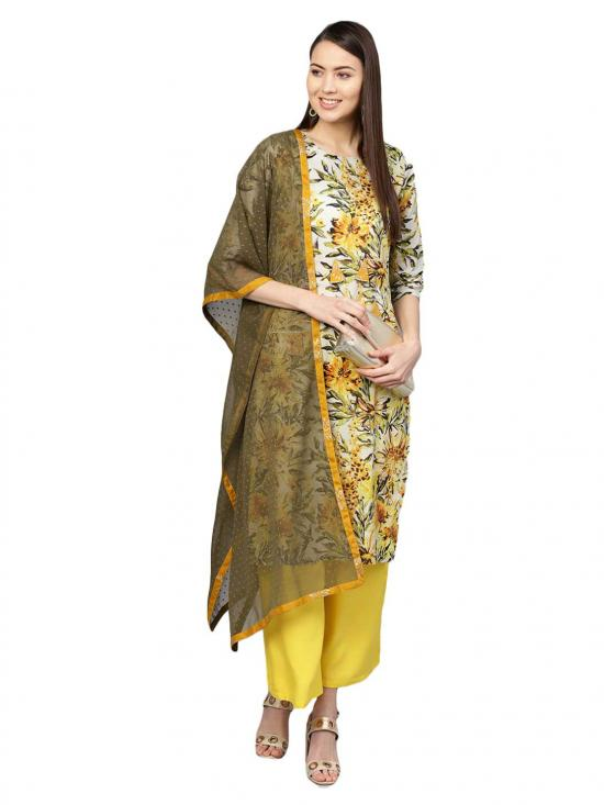 Ahalyaa Women's Cotton Printed Kurta Set In Yellow