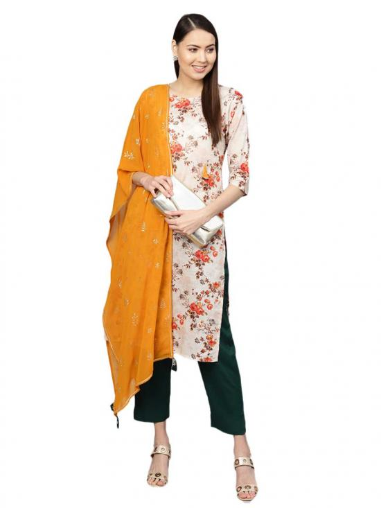 Ahalyaa Women's Cotton Printed Kurta Set In Off White