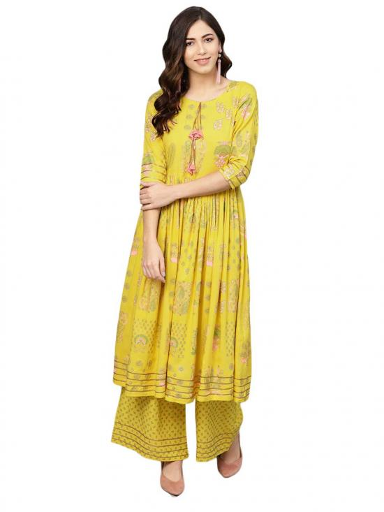 Ahalyaa Women's Rayon Frock Suit With Plazzo In Yellow