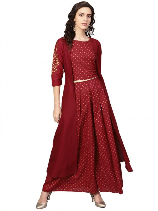 Ahalyaa Women's Pure Cotton A-Line Kurta Sets In Maroon