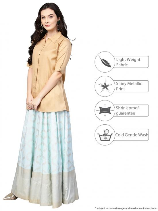 Beige Indo western Shirt Skirt Set