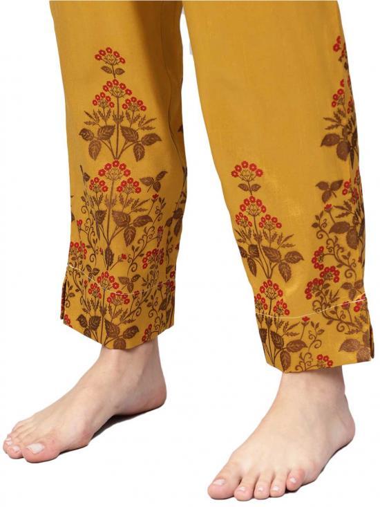 Ahalyaa Faux Chanderi  Printed Kurta Set  In Mustard Colour