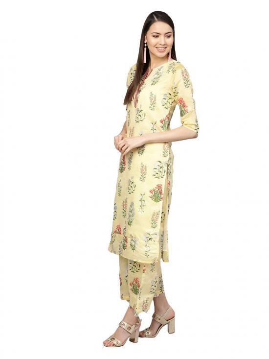 Women Yellow Printed Kurta with Skirt