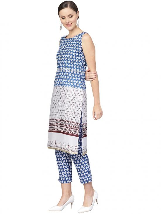Ahalyaa Cotton Straight Printed Kurta With Pant In Blue And White