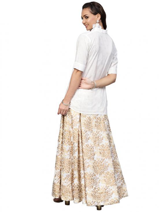 Ahalyaa White Straight Cotton Indowestern Sets