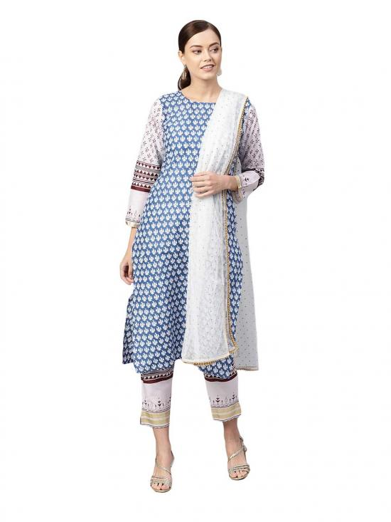 White And Blue Cotton Straight Printed Kurta Sets For Women