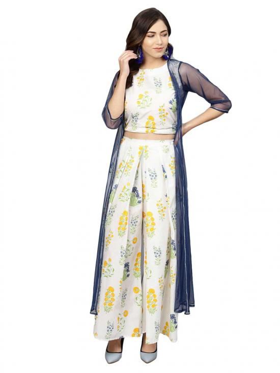 Ahalyaa Women's Cotton Printed Crop Top With Shrug In Off White
