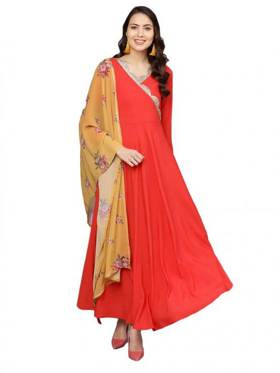 Red Plain Kurta With Dupatta For Women
