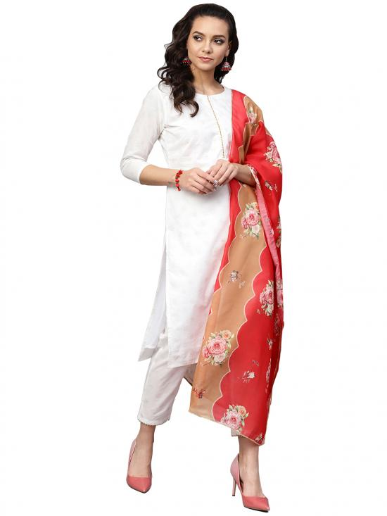 Ahalyaa Cotton  Straight Cotton Kurta Sets In White
