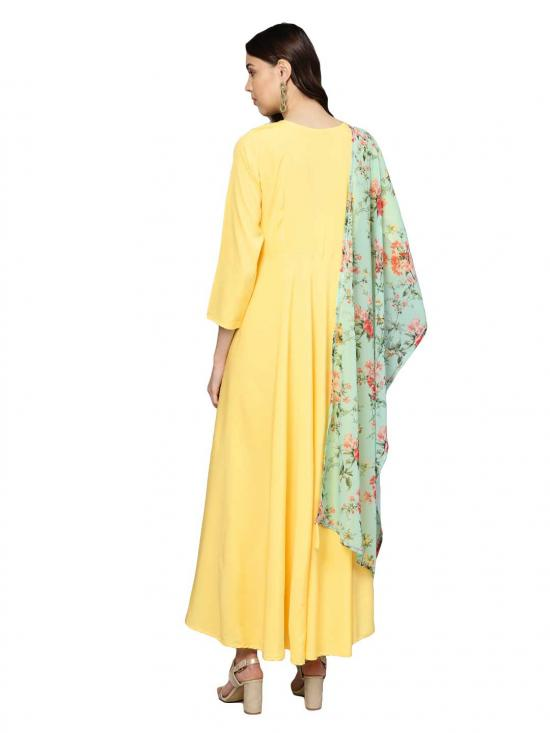 Women Yellow Plain Kurta with Dupatta
