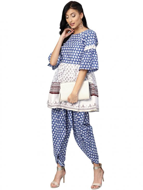 Pure Cotton  Kurti with Dhoti Pant In Blue and White