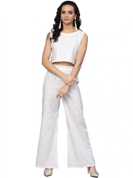 Ahalyaa Off White Straight Cotton Indowestern Sets