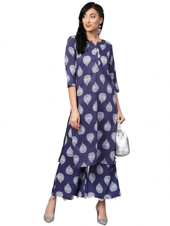 Dark Blue Printed Kurta set for Women