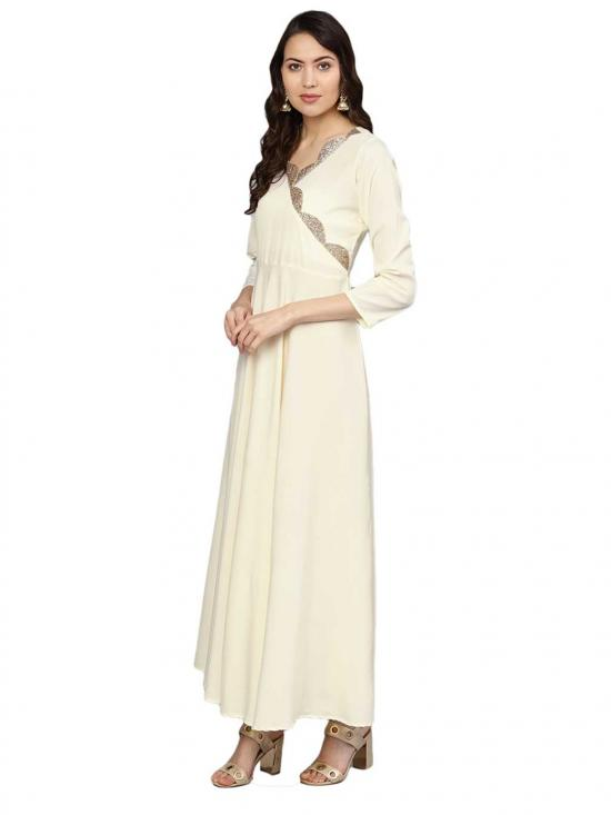 Cream A line Kurta with Dupatta for Women