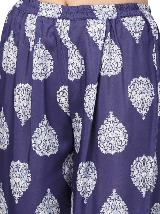 Muslin Printed Kurta set In Dark Blue