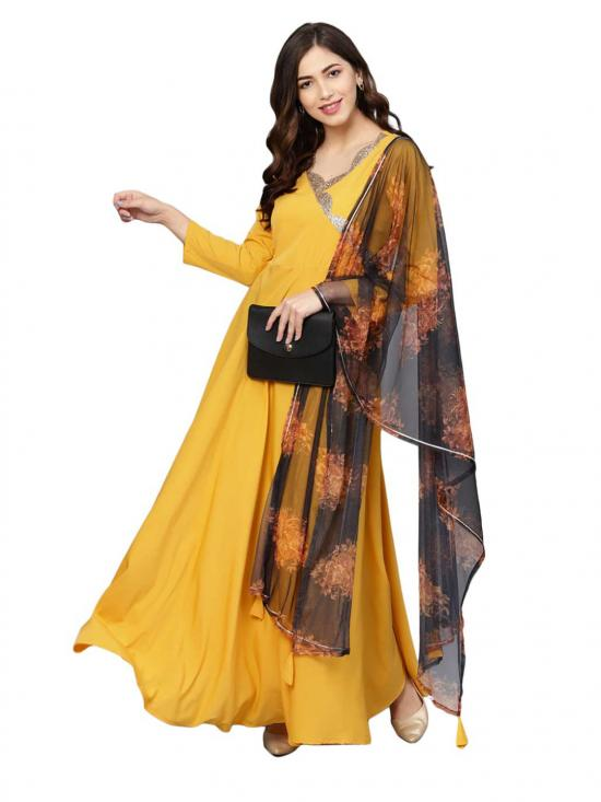 Women Yellow A line Kurta with Dupatta