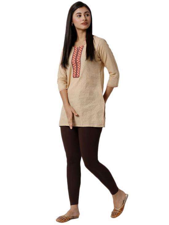 De Moza Ankle Length Leggings Brown