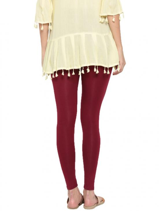 De Moza Ankle Length Leggings Maroon