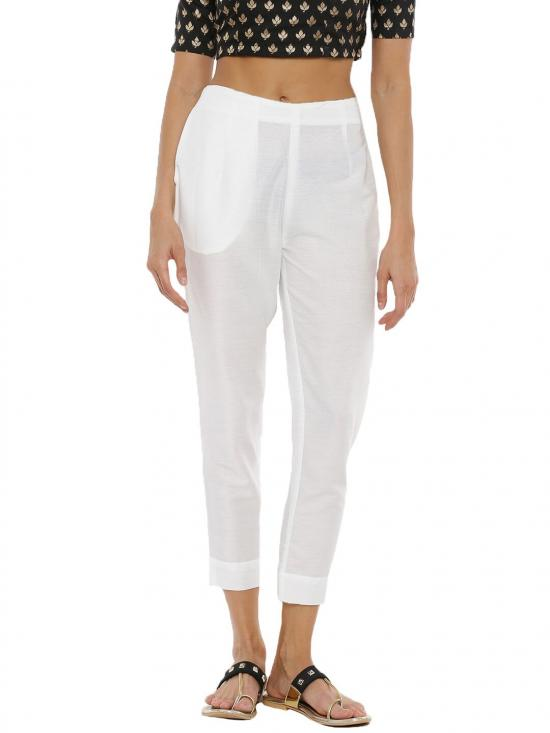 De Moza Women's Cigarette Pant Off white