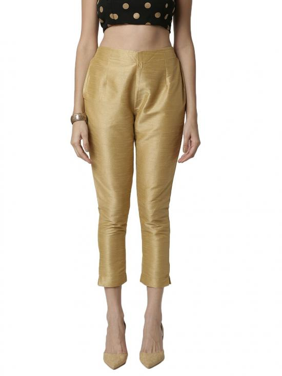 De Moza Women's Cigarette Pant Golden Colour