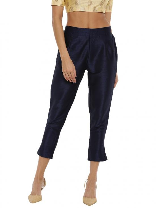 De Moza Women's Cigarette Pant Dark Navy Blue