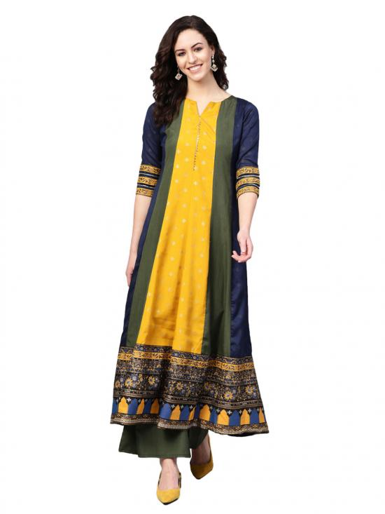 Women Pleated Kurta with Palazzo Set