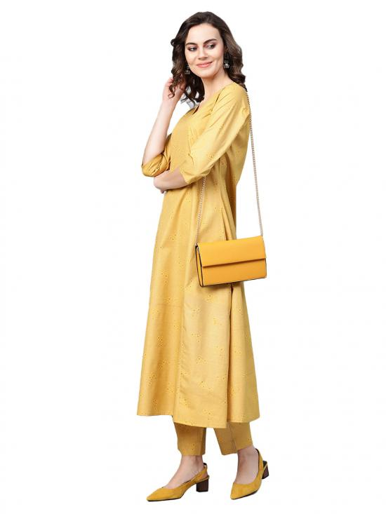 Women A-Line Crepe Kurta with Pant