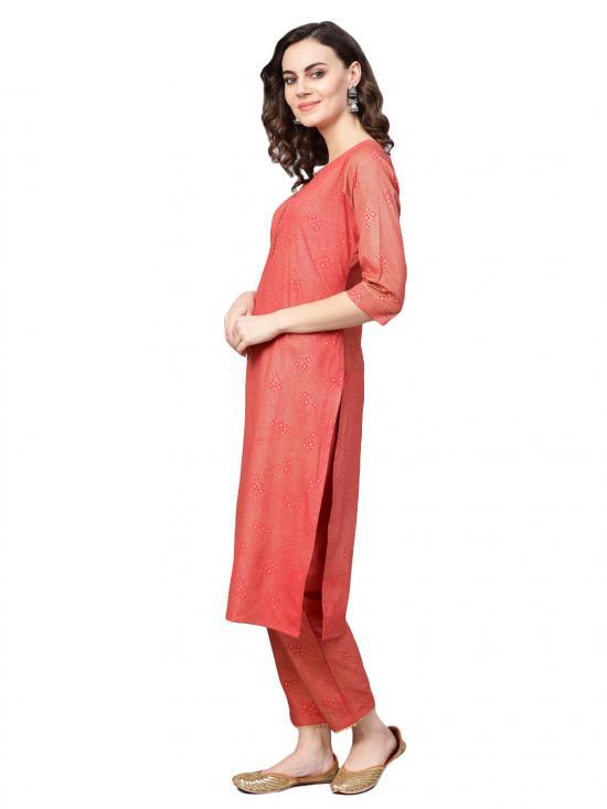 Ahalyaa Straight Red Kurta Set for Women