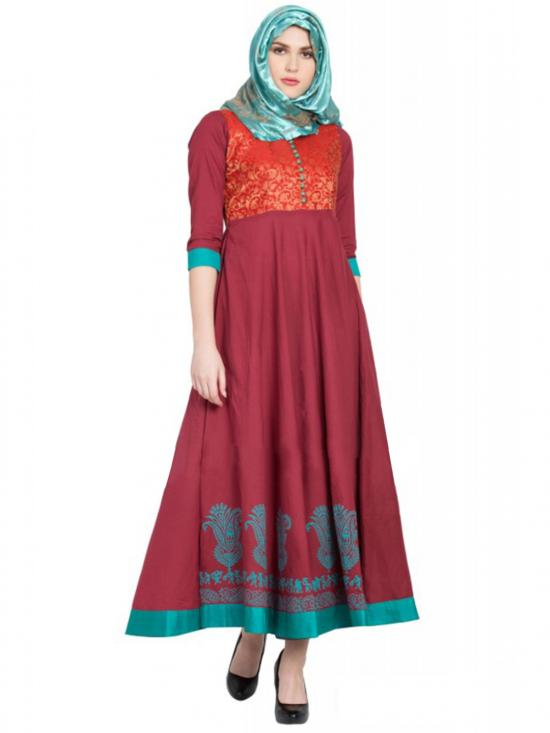 Women's Maroon with Green Anarkali Dress