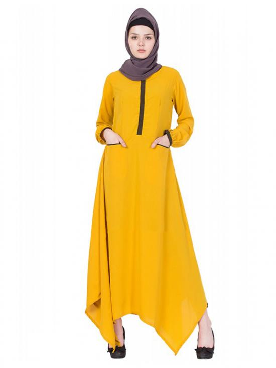 Women's Mustard Yellow Asymmetrical Dress