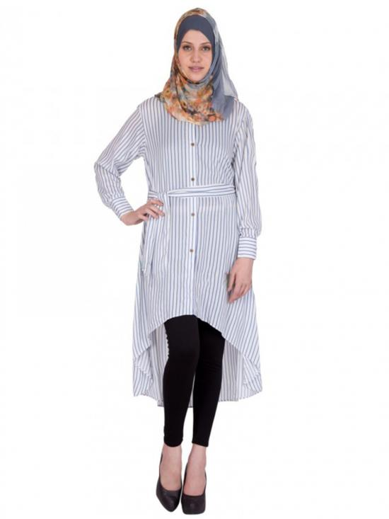 Women's White Colour Belted Kurti