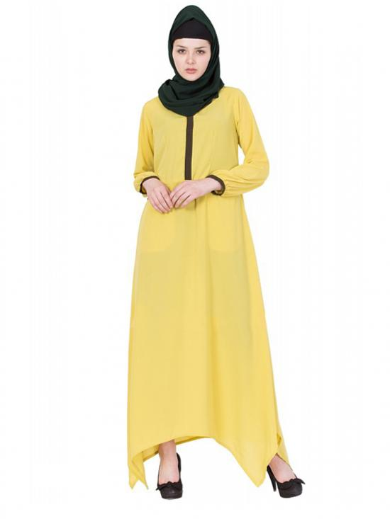 Women's Dark Lemon Colour  Asymmetrical Dress