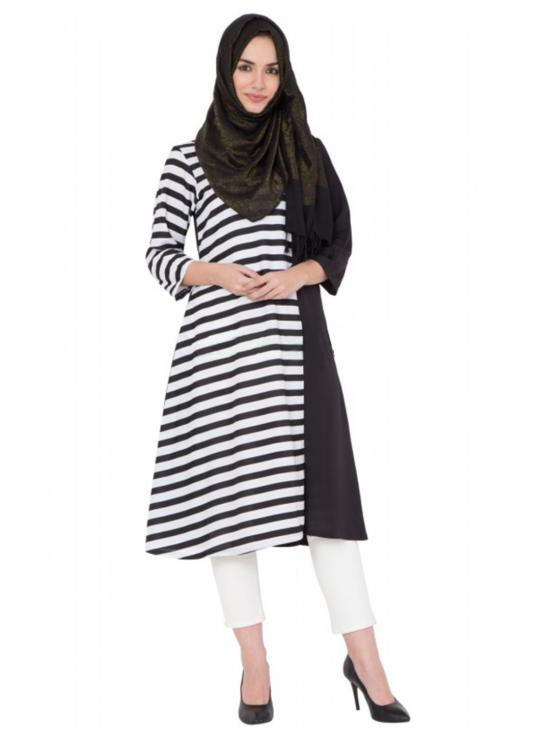 Women's Black and White long Kurti