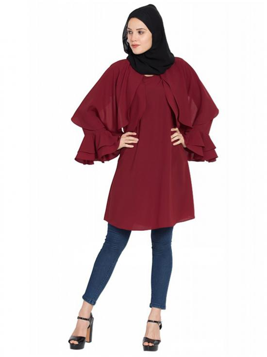 Women's Maroon Colour Modest Designer Kurti