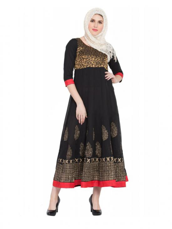 Women's Black Colour Anarkali Dress