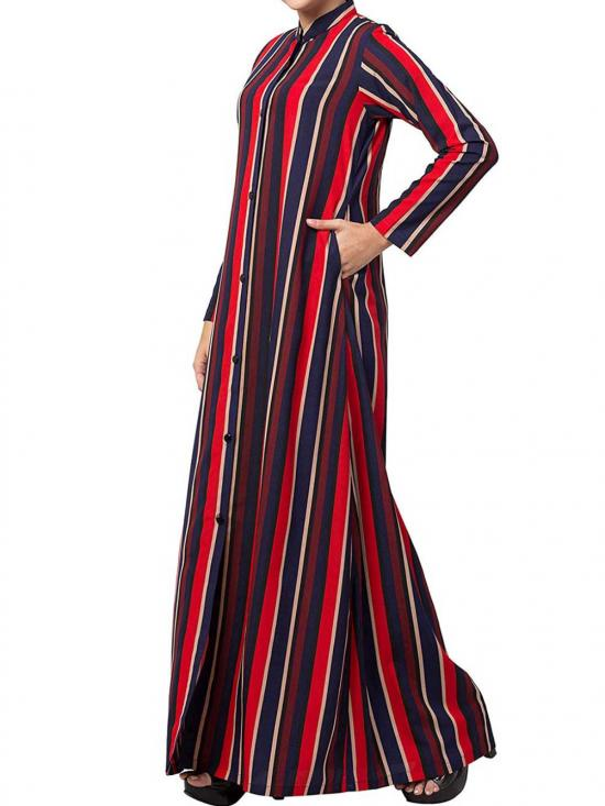 Mushkiya Crepe Long Abaya With Stripes & Side Pockets In  Multi Colour