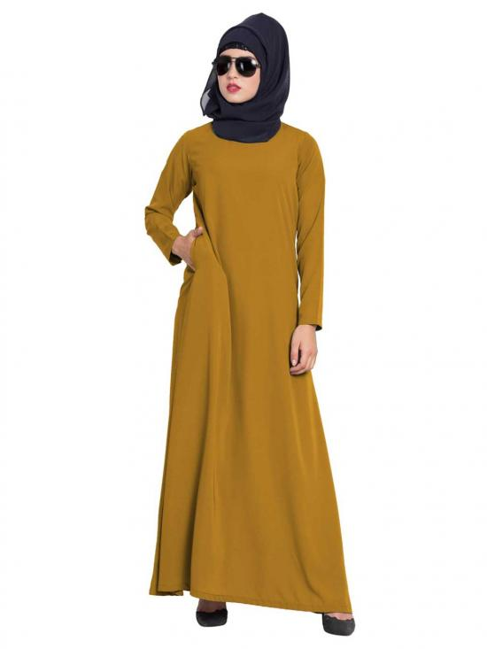 Nida Matte Simple A Line Abaya with Side Pockets in Golden Brown