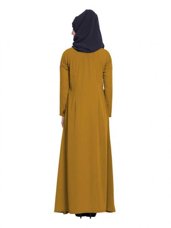 Mushkiya Nida Matte Simple A Line Abaya with Side Pockets in Golden Brown
