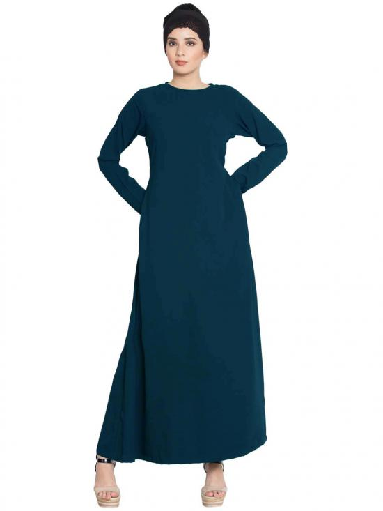 Mushkiya Nida Matte Simple A Line Abaya with Side Pockets in Dark Teal
