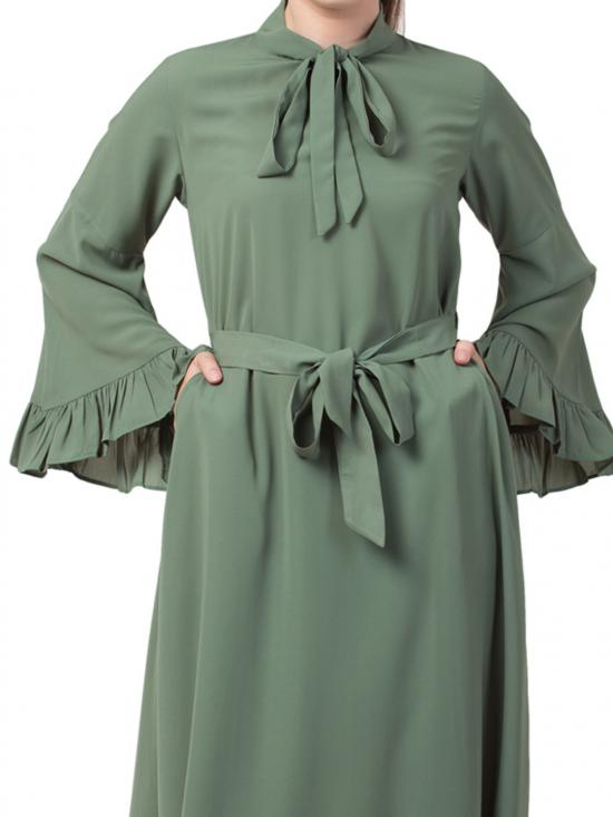 Nida Matte Abaya With Collar Ribbon and Frilled Bell Sleeves in Jade Green