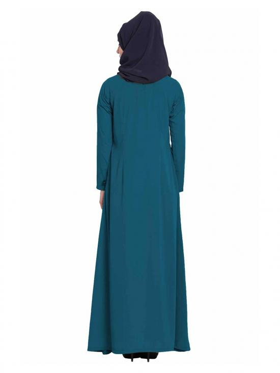 Nida Matte Simple A Line Abaya with Side Pockets in Teal