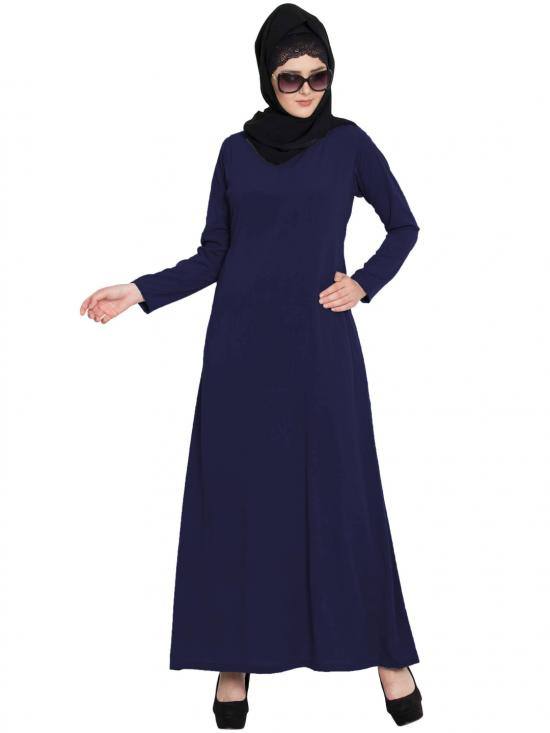 Mushkiya Nida Matte Simple A Line Abaya with Side Pockets in Navy Blue