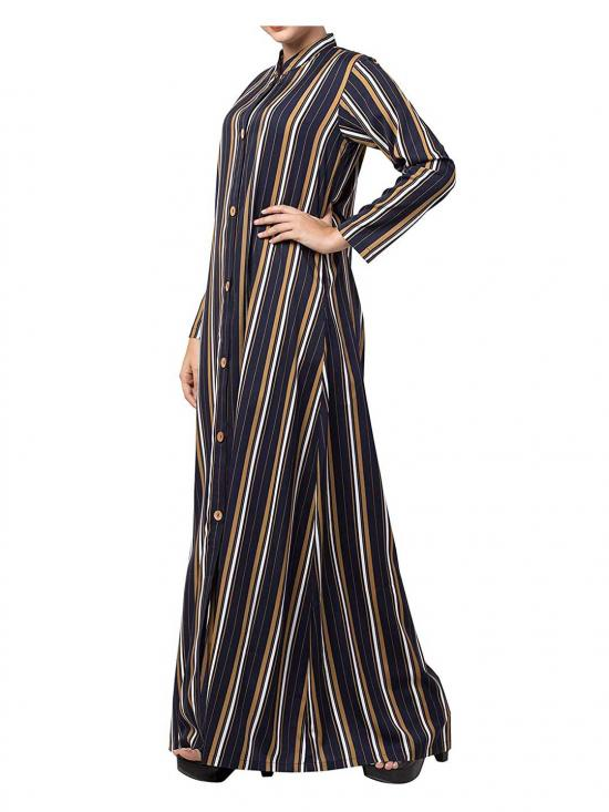 Crepe Long Abaya With Stripes & Side Pockets In Multi Colour