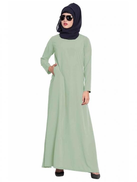 Mushkiya Nida Matte Simple A Line Abaya with Side Pockets in Sea Green