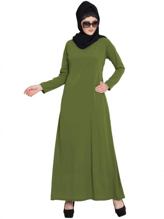 Nida Matte Simple A Line Abaya With Side Pockets In Henna