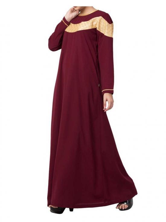 Nida Matte & Brocade  Modest Dress In Maroon & Gold