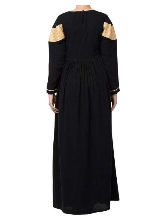 Nida Matte & Brocade  Modest Dress In Black & Gold